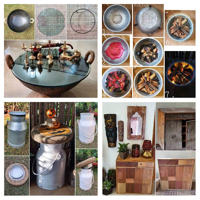 Top left:Kadhai transformed into an exquisite rable Top right:Sigdi look-alike table Bottom left: Rustic Milkcan Stool, Bottom right:an old shoe rack gets new lease of life
